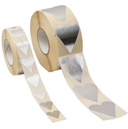 Presentetiketter Silver Hjärta 28 x 20 mm